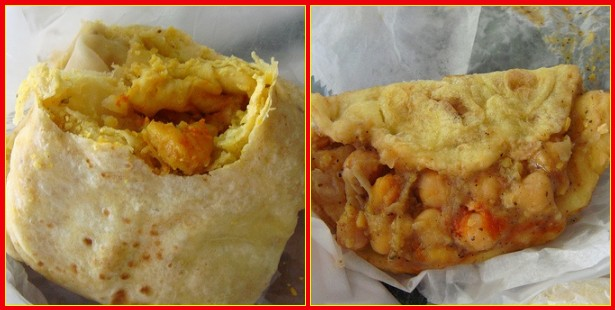Food at Nio's: Shrimp roti on the left, doubles on the right.