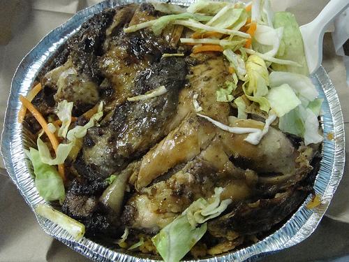 Jerk Chicken, De Bamboo Express Restaurant & Bakery, Crown Heights, Brooklyn