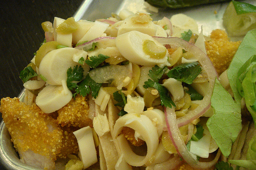 Hearts of palm on Cascabel's fish taco.