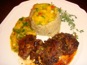 Crown Heights Quinoa with Jerk Pork Tenderloin and Curry Mango Salsa