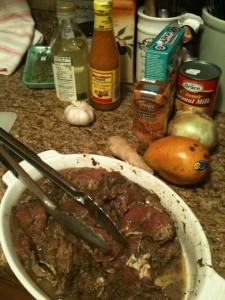 Jerk pork and some of the fixins'