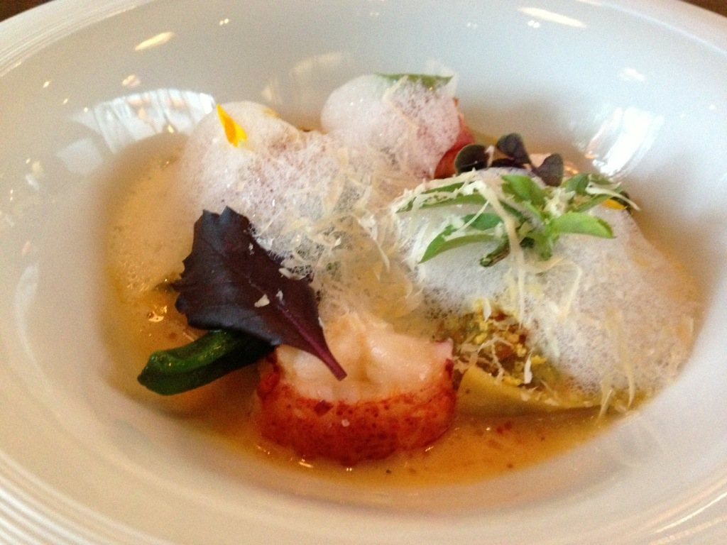 Swiss Chard Agnolotti Lobster, Corn, Shishito Pepper